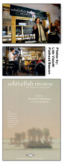 Brian Schott and Stella Holt at Whitefish Review Issue #8 Event. Cover of Issue #8.